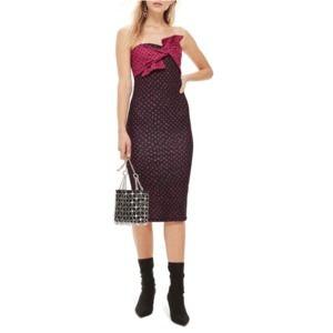 Topshop Bow Twist Black Strapless Midi Dress Sz 8